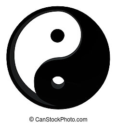 3D Yin Yang - 3D yin yang on a white background