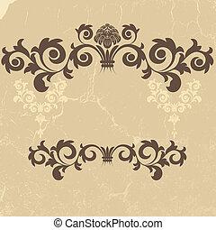 Vintage grunge beige frame - Vintage grunge frame with swirl...