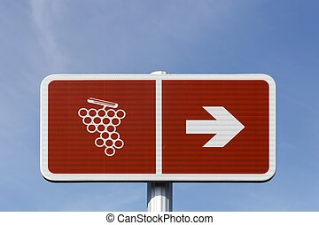 Road of wine sign in France