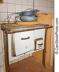 Old kitchen in white color
