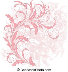Background with pink branch - Grunge background with...