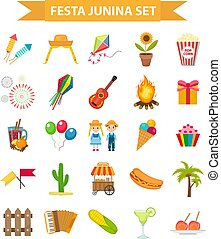 Festa Junina set icons, flat style. Brazilian Latin American festival, celebration of traditional symbols. Collection of design elements, isolated on white background. Vector illustration, clip-art.