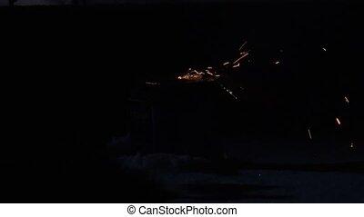 Exploding firecracker, fireworks. 4K. - Exploding...