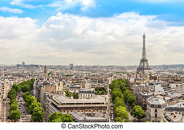 Champs elysees Avenue view, Paris, France - View on Paris...