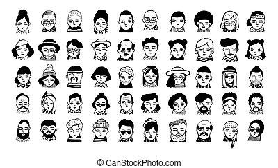 Big set of people avatars for social media, website. Doodle...