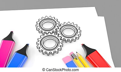 Sheet of paper with writing tools and gears
