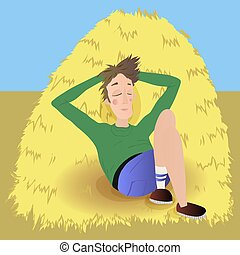 Farmer in agreen jumpsuit, lies on haystack. Vector...