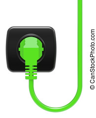 green electric plug and power outlet isolated on white...