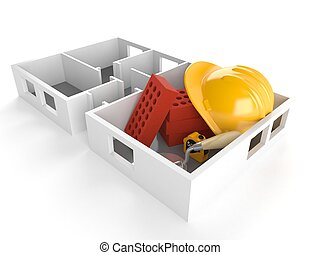 House plan with bricks and hardhat