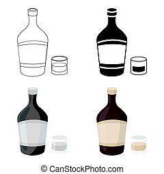 Liqueur icon in cartoon style isolated on white background. Alcohol symbol stock vector illustration.