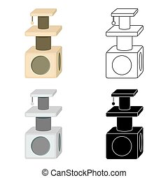 Cat house icon in cartoon style isolated on white background. Cat symbol stock vector illustration.