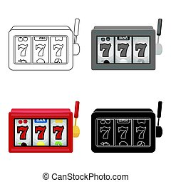 A slot machine in a casino. An automatic with a lever and a dial.Kasino single icon in cartoon style vector symbol stock illustration.