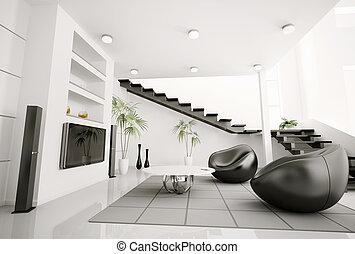 Living room interior 3d render - Living room interior black...