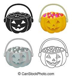 Halloween bucket icon in cartoon style isolated on white...