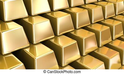 Gold Bars repeatly move - 3d animation, loop-ready