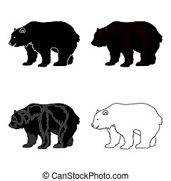 Canadian brown bear. Canada single icon in cartoon style...