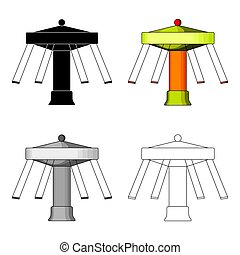Carousel with seats on chains for children. Amusement park.Amusement park single icon in cartoon style vector symbol stock illustration.