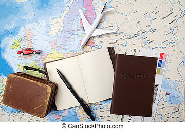 Travel , trip vacation, tourism mockup - close up note book,...