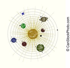 solar system in dotwork style. planets in orbit. vintage hand drawn colorful illustration.