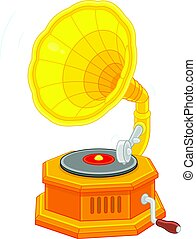 Old vintage gramophone - Vector illustration of a retro...