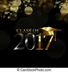 Class of 2017 with graduation cap in gold on a black...