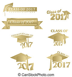 Class of 2017 - Seven mnemonics in gold on Class of 2017 or...