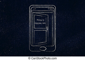 smartphone with open door on the screen with text Personal Information