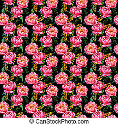 Wildflower peony flower pattern in a watercolor style isolated.