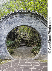Doorway inside the People's Park in Chengdu, China - Passage...