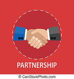 Partnership - Vector flat design of a handshake partnership...