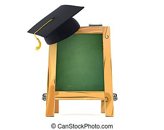 Wooden chalkboard with graduation hat