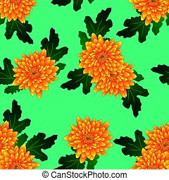 Yellow Chrysanthemum on Green Teal Background. Vector Illustration
