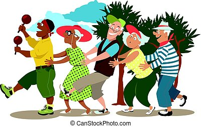 Seniors dancing conga - Group of active seniors led by a...