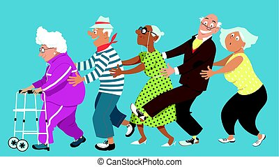 Retirement home conga - Diverse group of active senior...