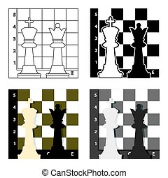 Chess icon in cartoon style isolated on white background. Board games symbol stock vector illustration.