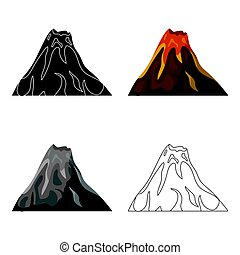 A fiery volcano.A mountain in which there is a volcanic...