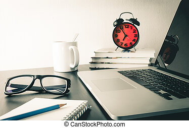 Morning Computer working desk with Red alarm clock
