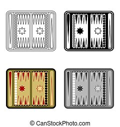 Backgammon icon in cartoon style isolated on white...