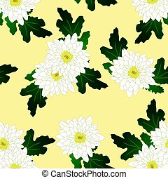 White Chrysanthemum on Yellow Ivory Background. Vector Illustration