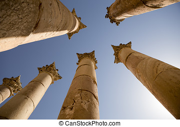 Ancient columns in Jerash, Jordan