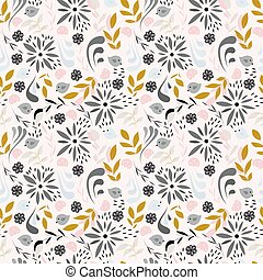 Seamless pattern design with little flowers, floral elements, birds