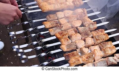 Grilled salmon shish kebab - Barbecue salmon on the grill,...