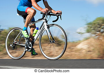 Motion blur of a bike race with the bicycle and rider