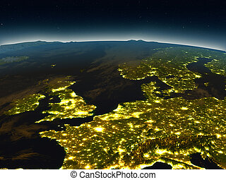 Western Europe from space in the evening - Western Europe in...