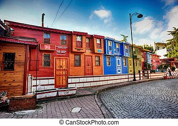 Colorful ottoman houses in the Edirnekapi district in...