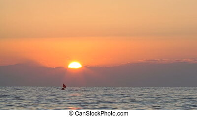 beautiful sunset in Mediterranean sea - the beautiful sunset...