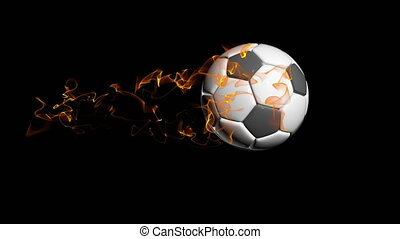 Rotating soccer ball on a black background, video loop, with alpha channel