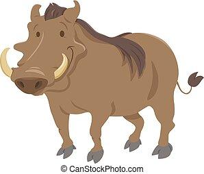 cartoon warthog animal character - Cartoon Illustration of...