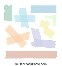 Scotch tape pieces set isolated. Vector - Scotch adhesive...