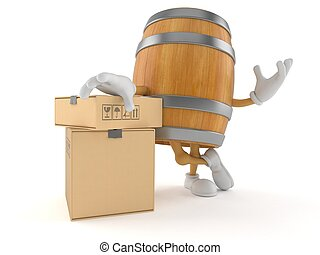 Barrel character with stack of boxes
